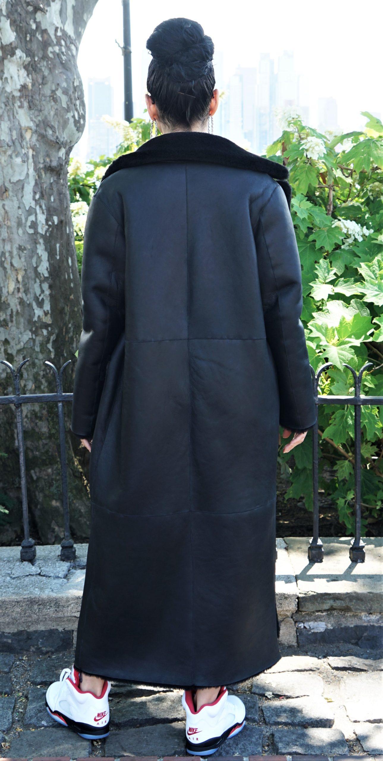 Black Shearling Full Length Coat