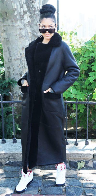 Women's Black Shearling Full Length Coat