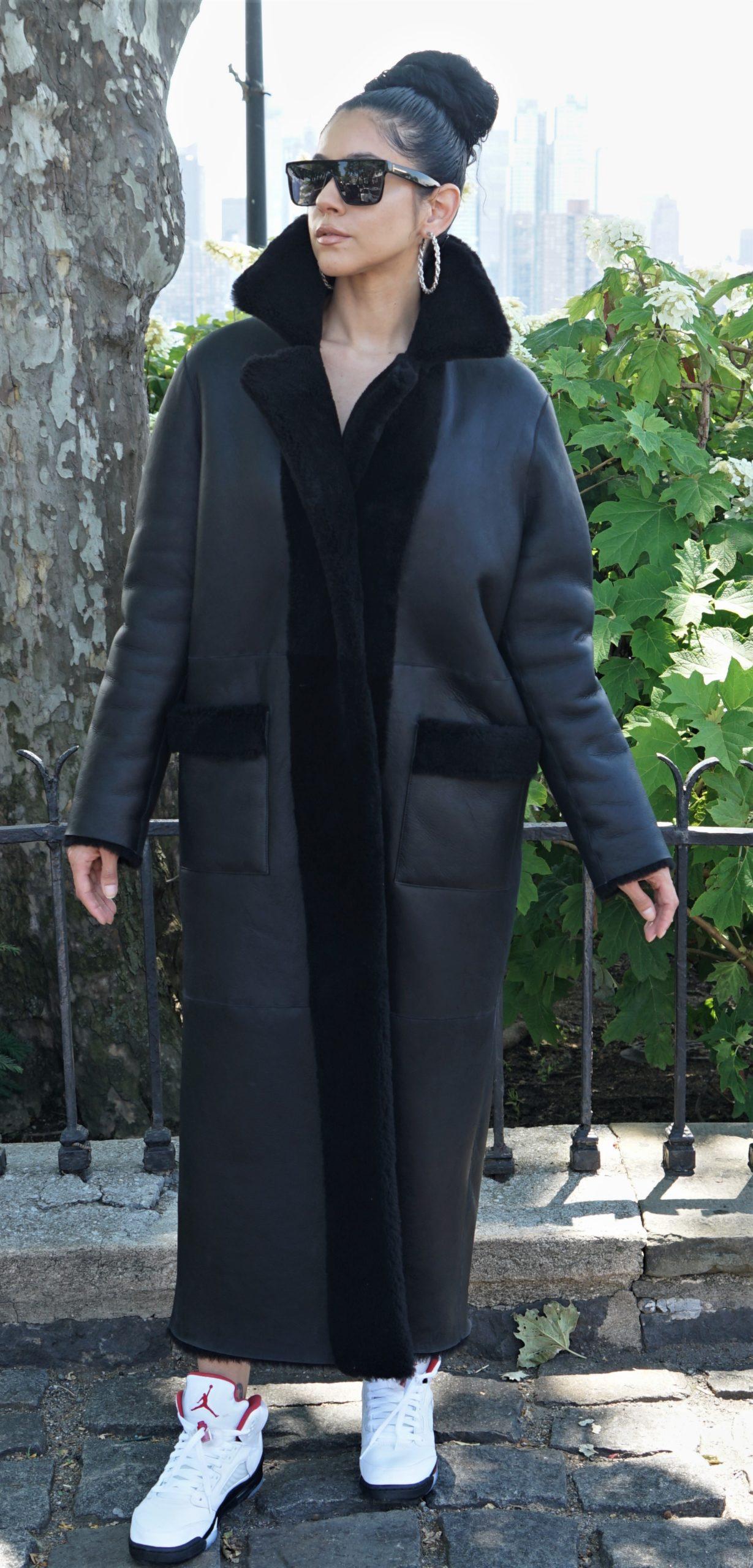 Classic Shearling Full Length Coat Woman's