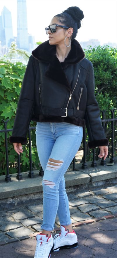 Women's Black Shearling Motorcycle Jacket
