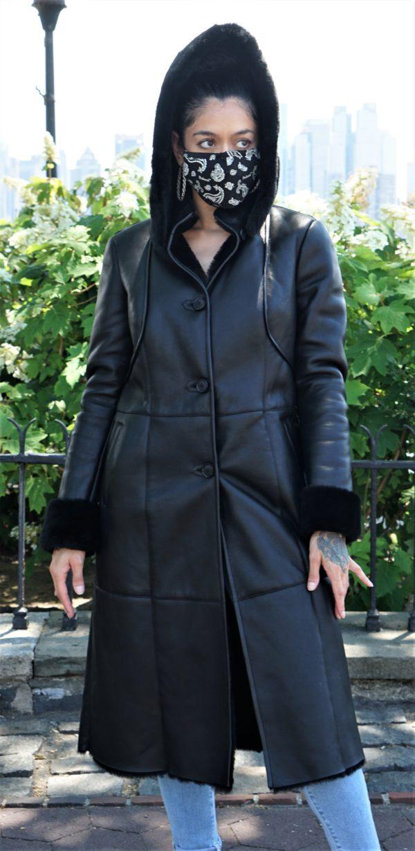 Black Shearling Coat Detachable Hood
