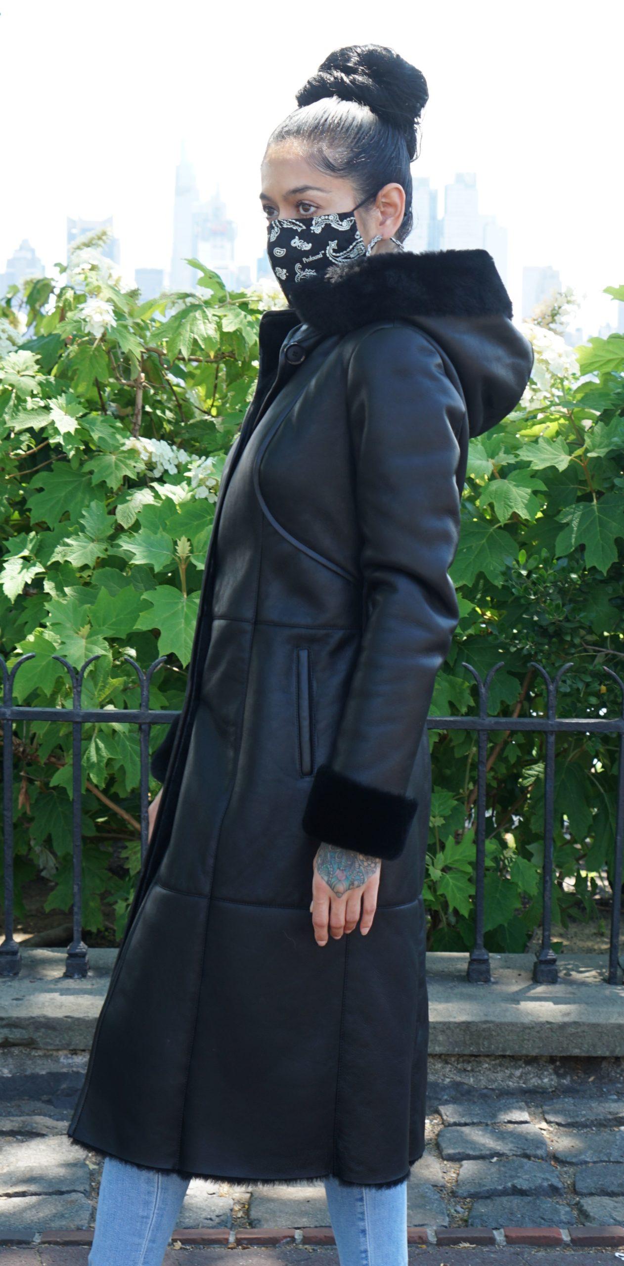 Women's Black Shearling Full Length Coat Detachable Hood