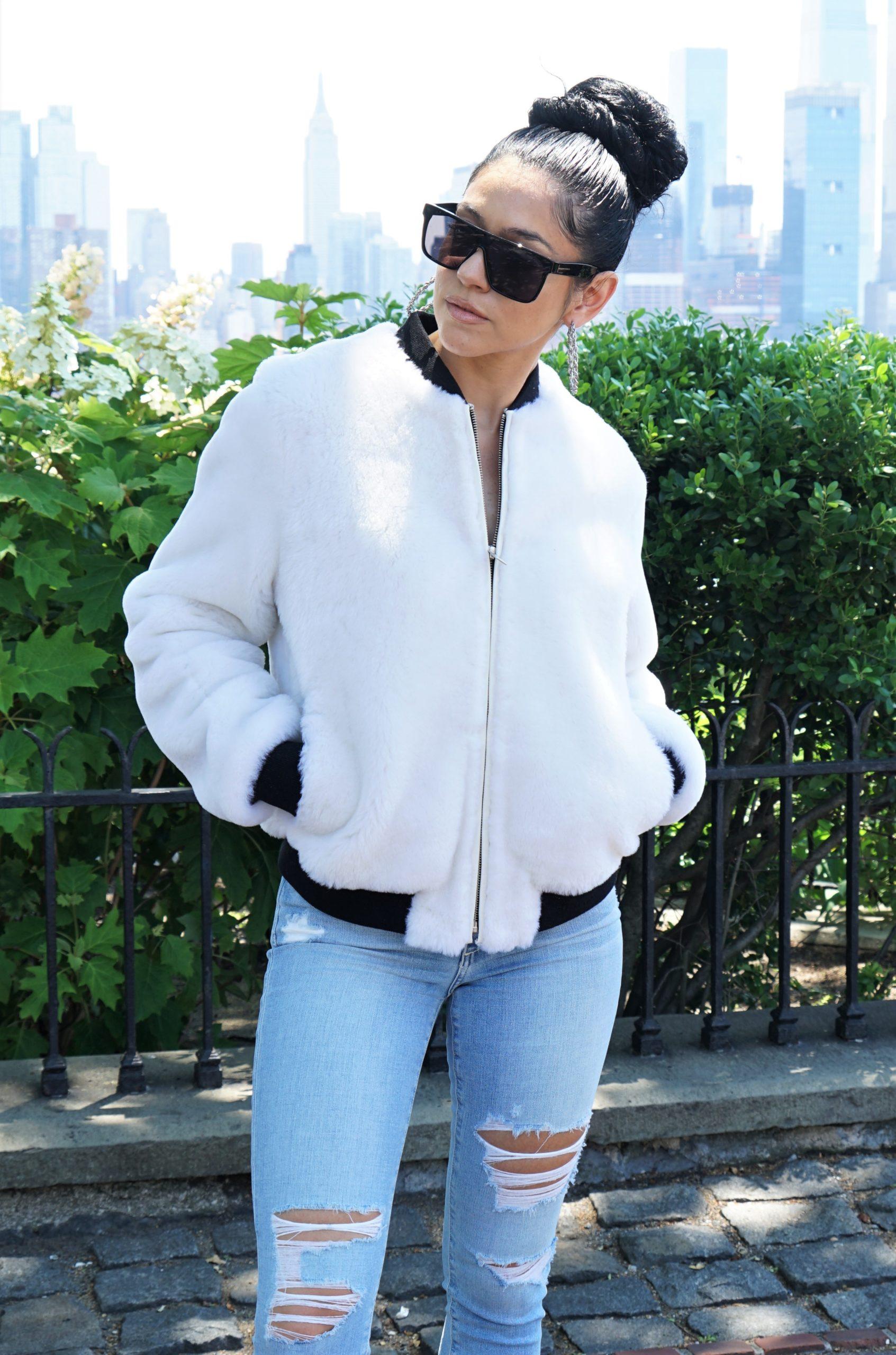 Women's White Shearling Jacket Designer