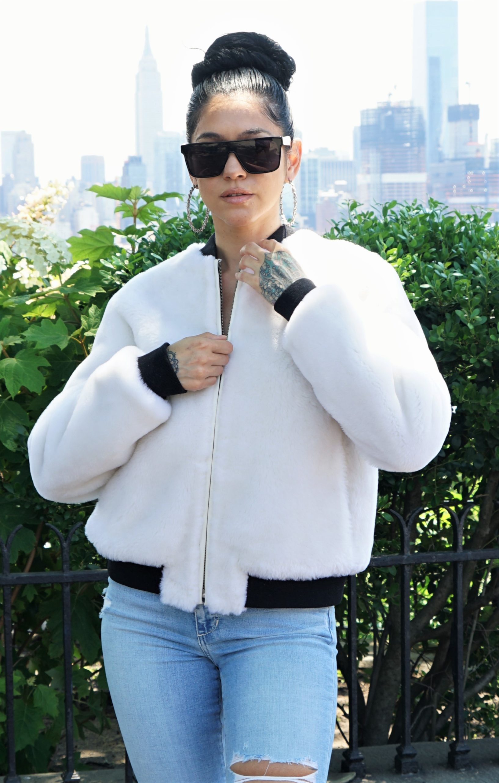 Women's White Shearling Teddy Bear Jacket Knit Trim