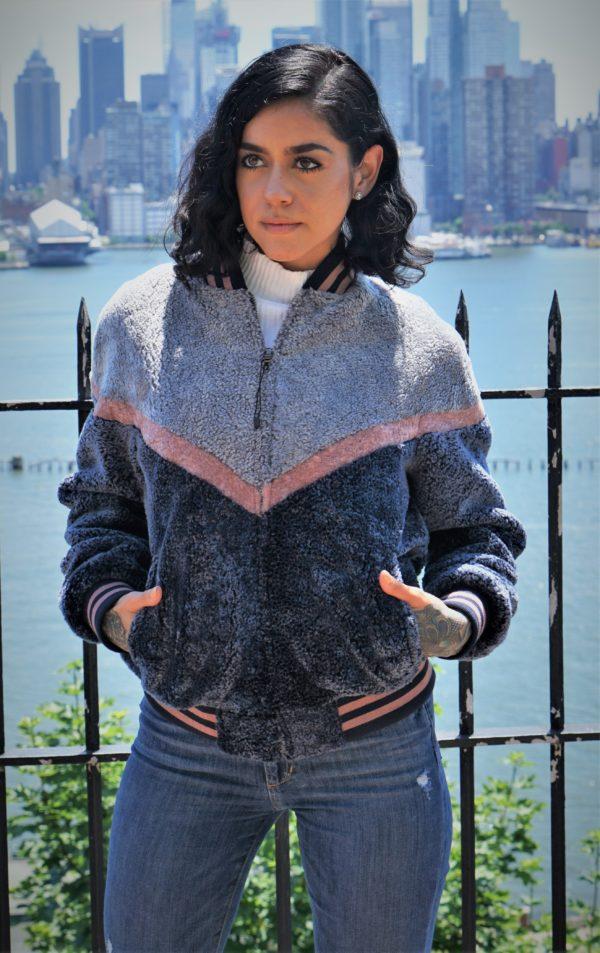 Gray Blue Pink Varsity Shearling Jacket