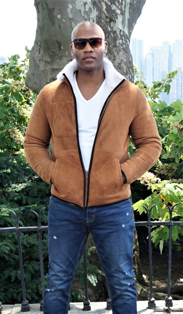 Men's Camel Shearling Jacket