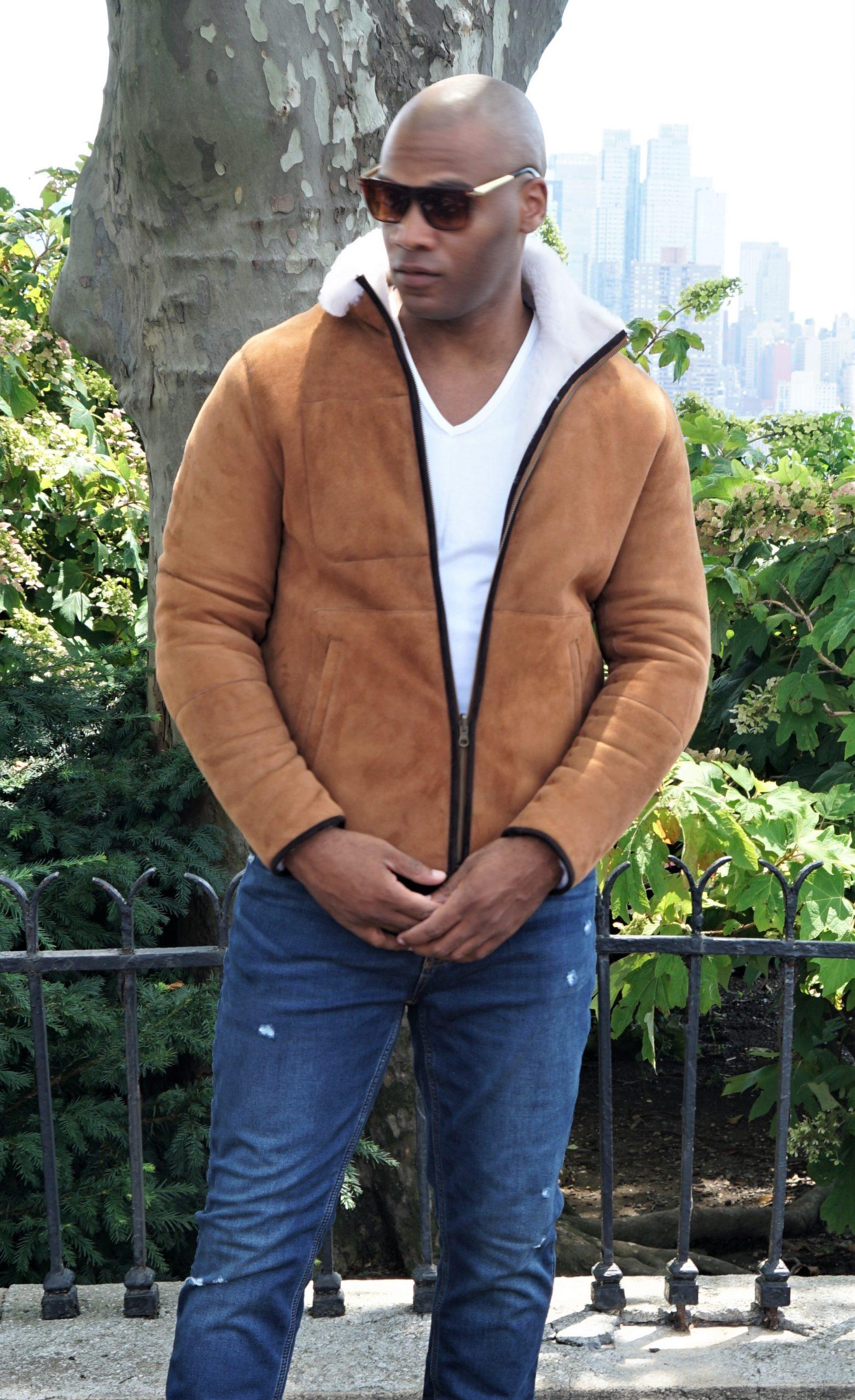Men Camel Shearling Jacket