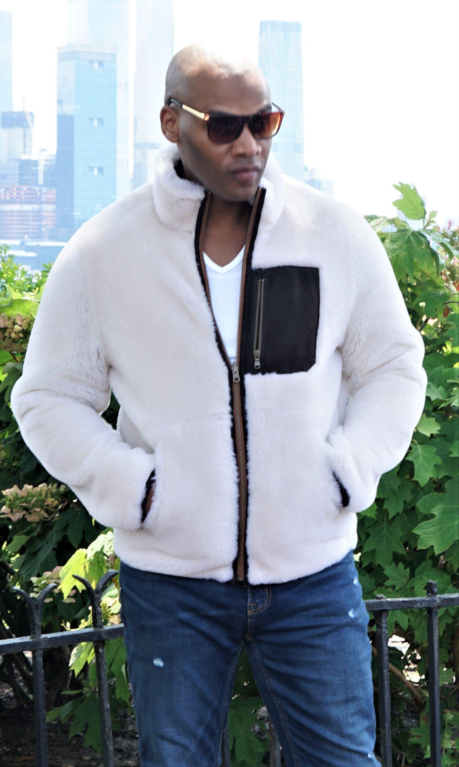 Men's White Shearling Jacket w/ Pocket