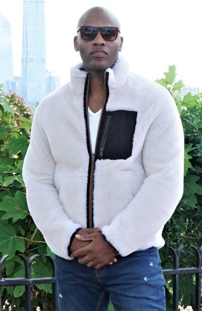 Designer Men's White Shealing Jacket w/ Pocket