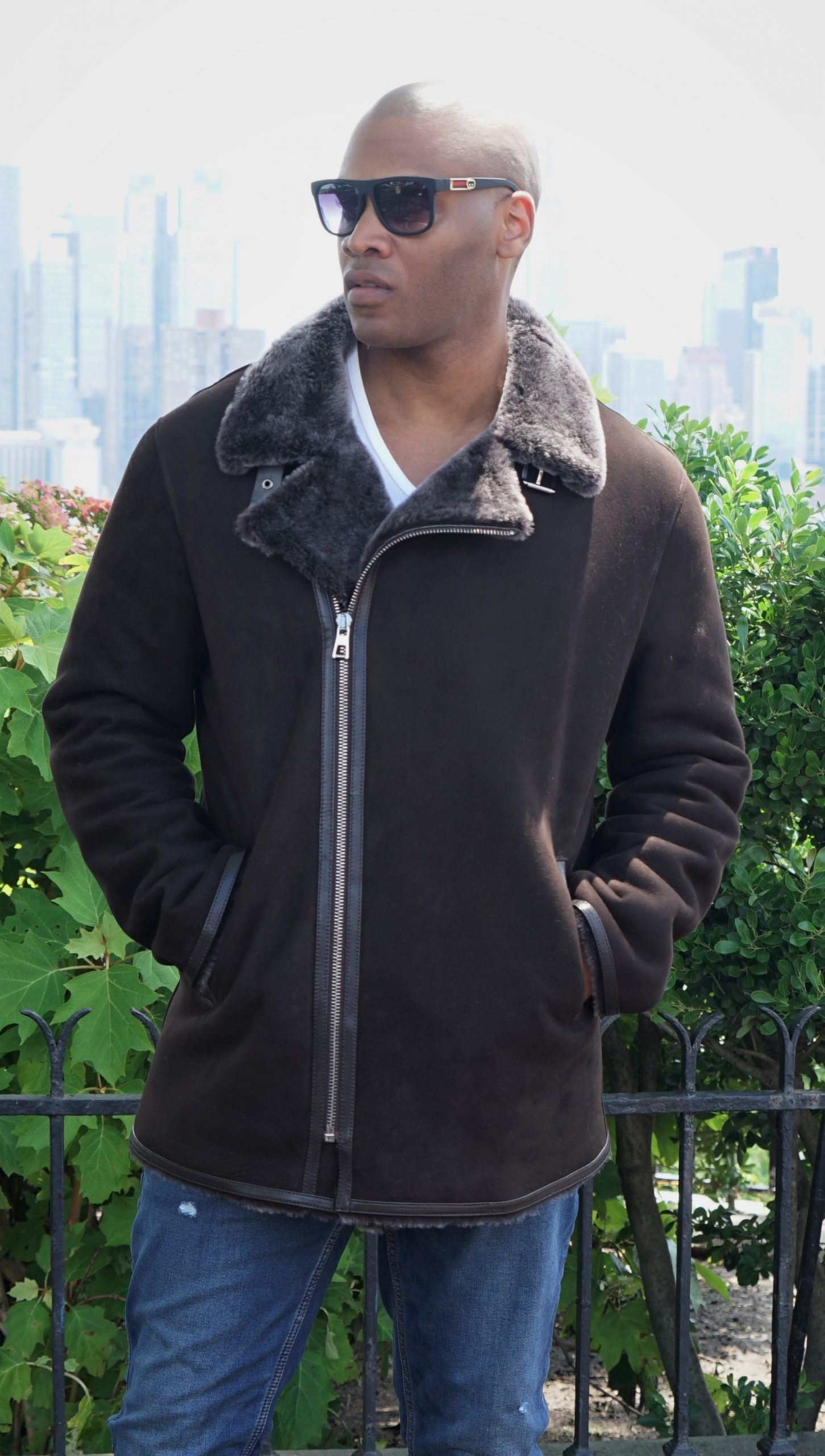 Men's Brown Shearling Jacket