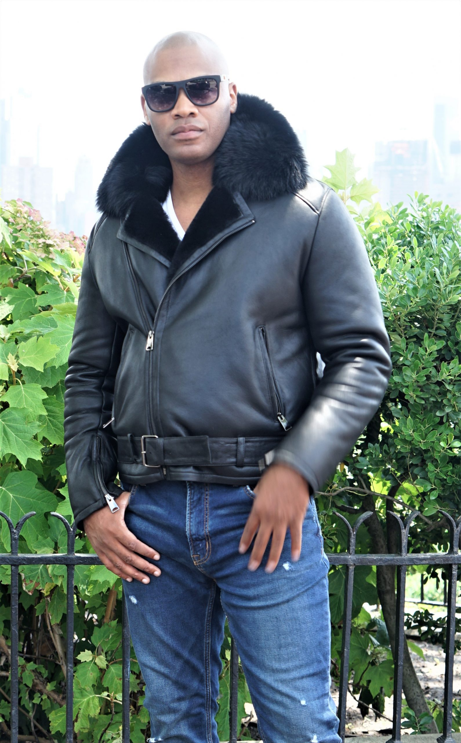 Men's Black Shearling Jacket Black Fox Collar