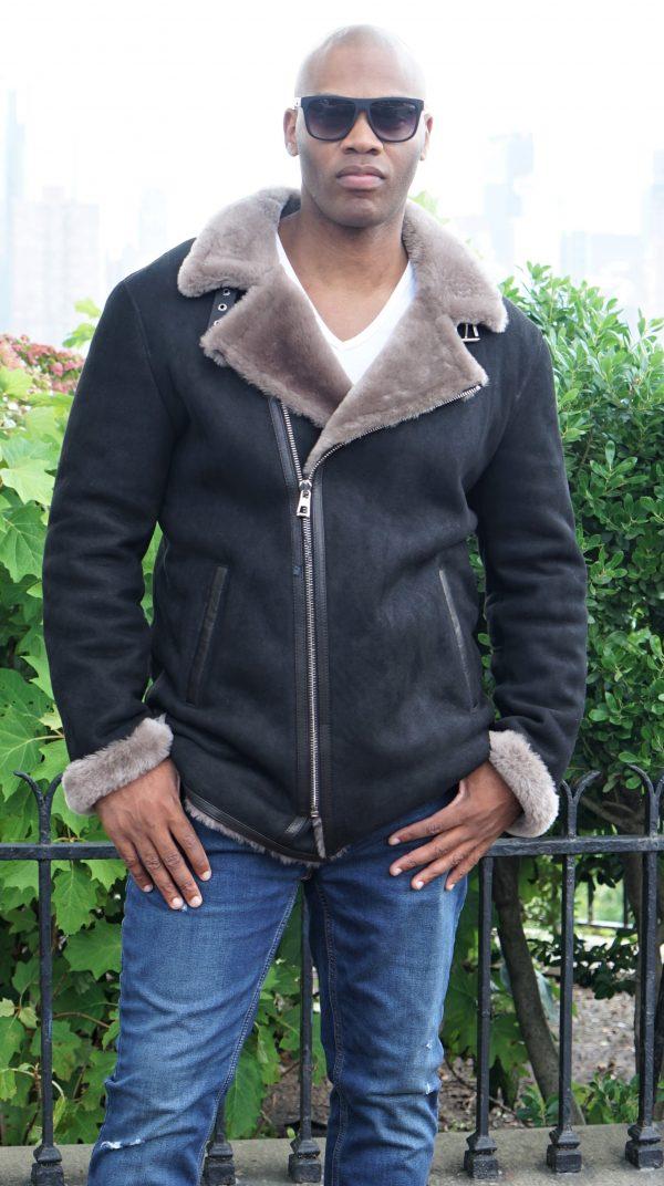 Men's Black Shearling Jacket Tan Lining