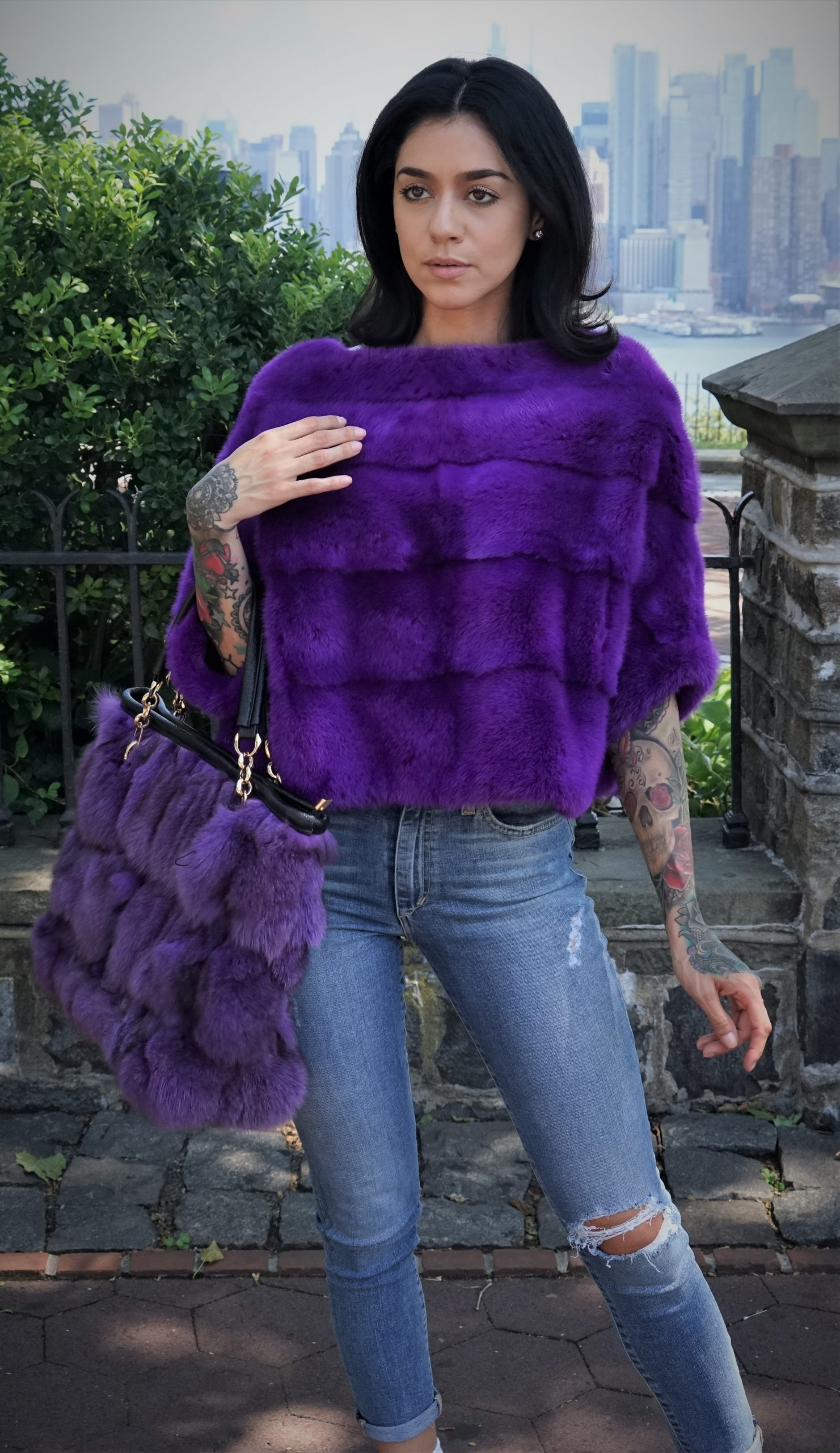 Purple Fox Fur Bag