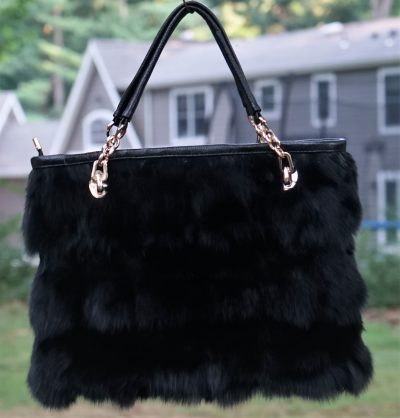 Black Fox Fur Bag