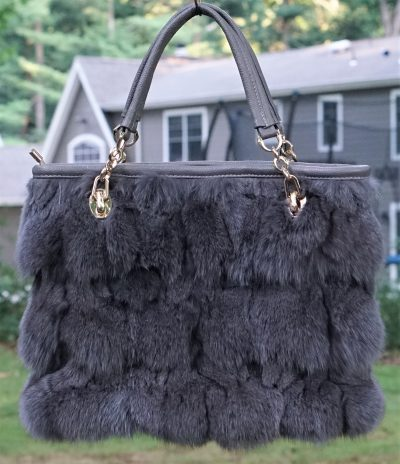 Grey Fox Fur Bag