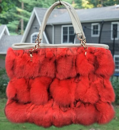 Orange Fox Fur Bag