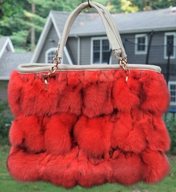 Orange Fox Fur Bag