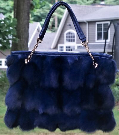Royal Blue Fox Fur Bag