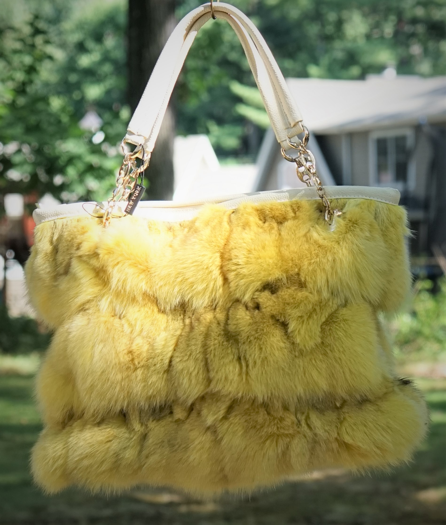 Yellow Fox Fur Bag