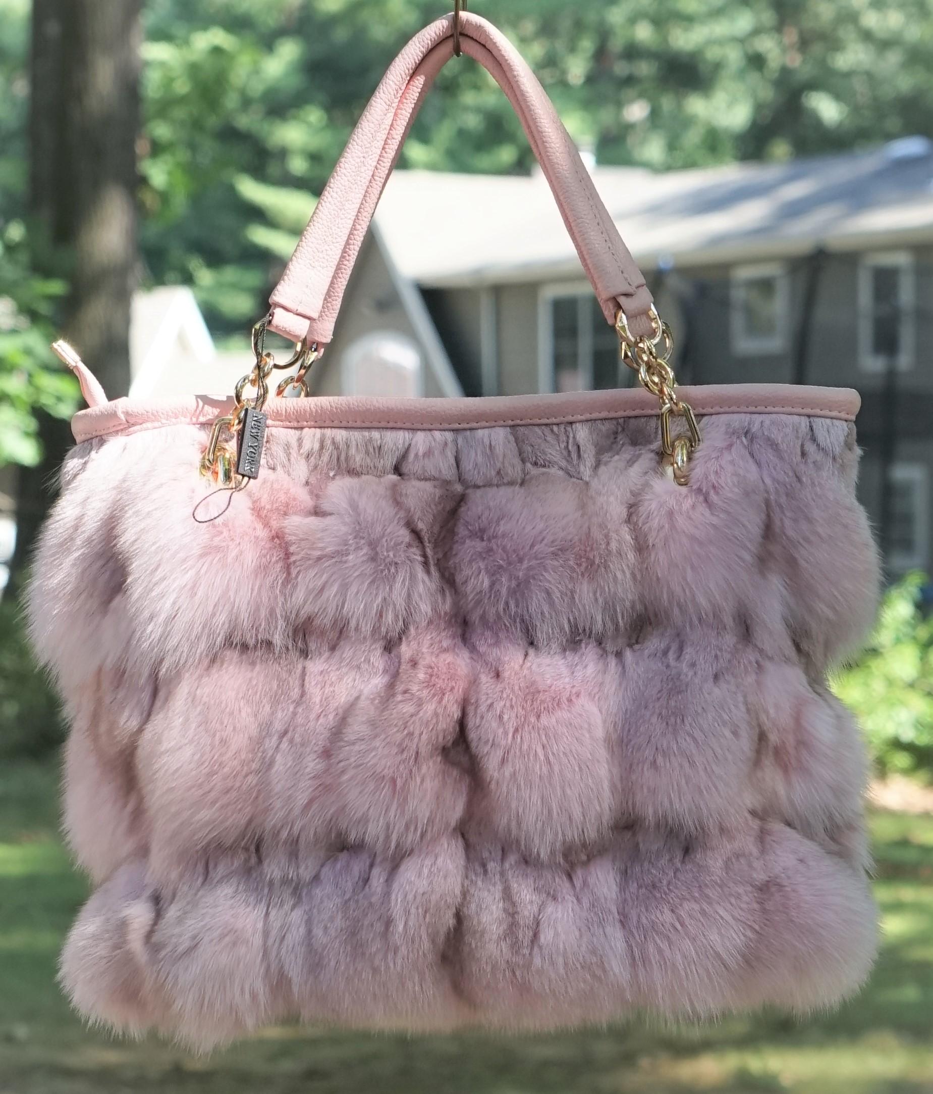 Baby Pink Fox Fur Bag