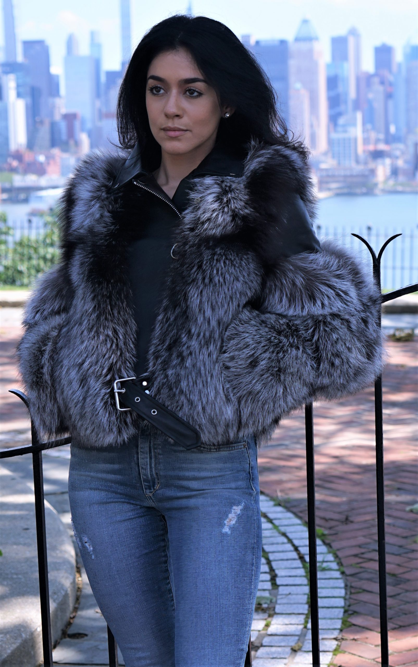 Silver Fox Jacket Black Leather Inserts