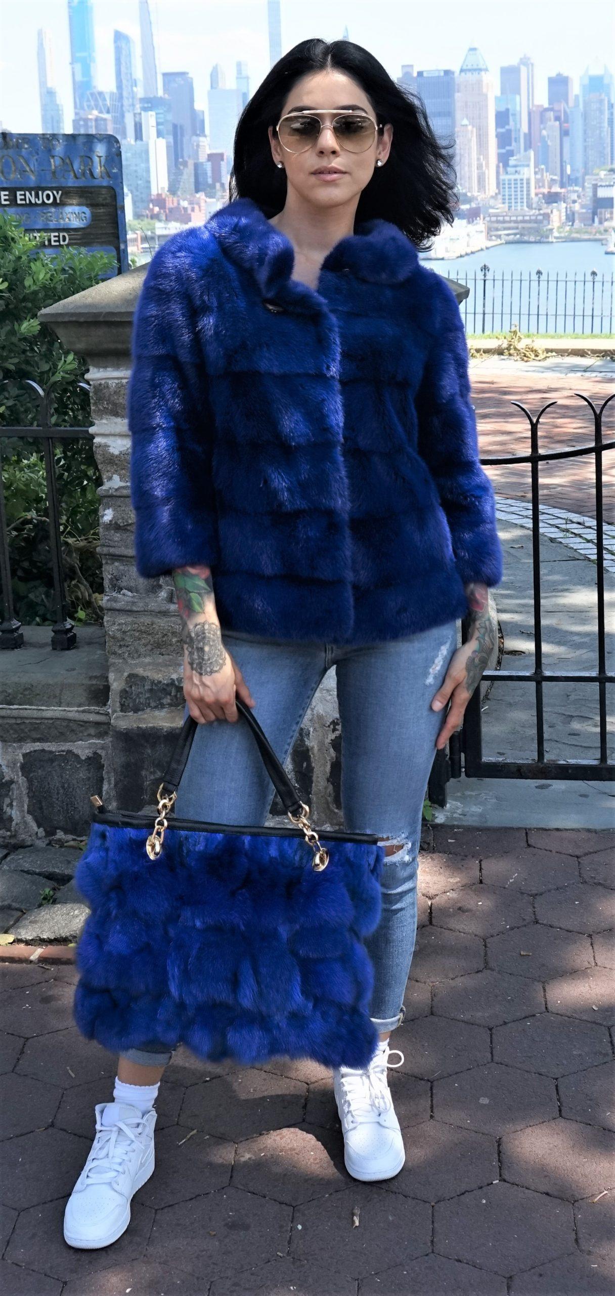 Royal Blue Mink Jacket
