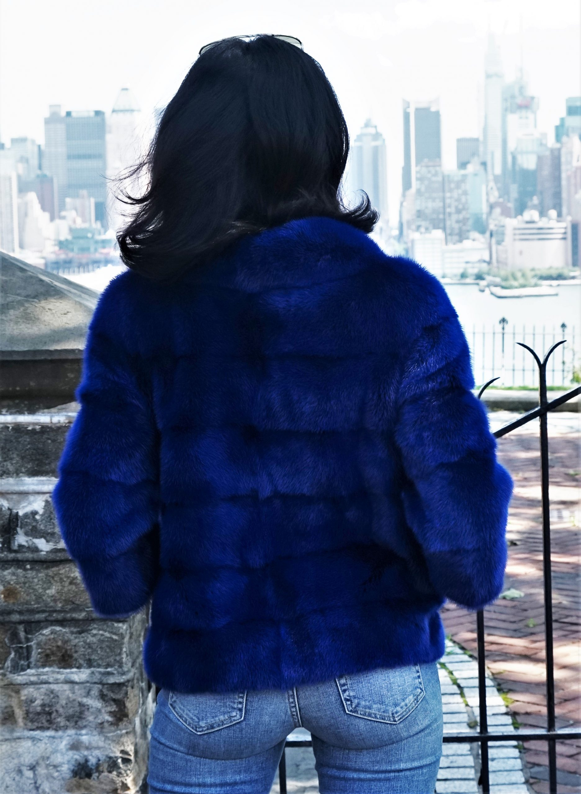 Pullover Royal Blue Mink Jacket with Matching Royal Blue Fox Bag