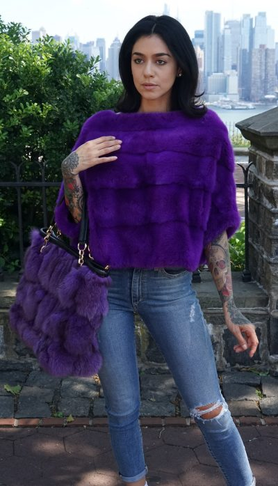 Purple Mink Jacket Pullover Matching Fox Bag