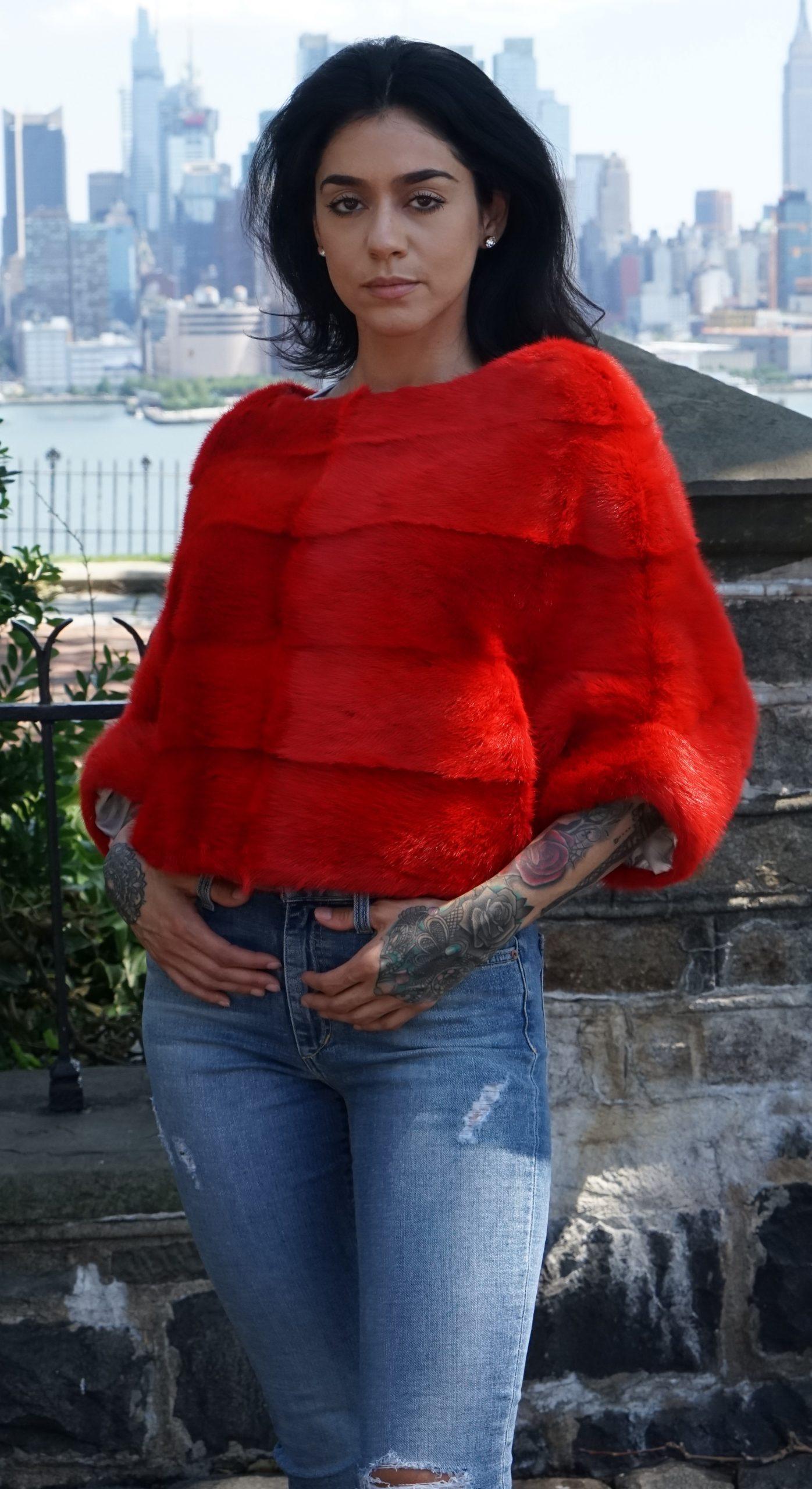 Pullover Red Mink Jacket