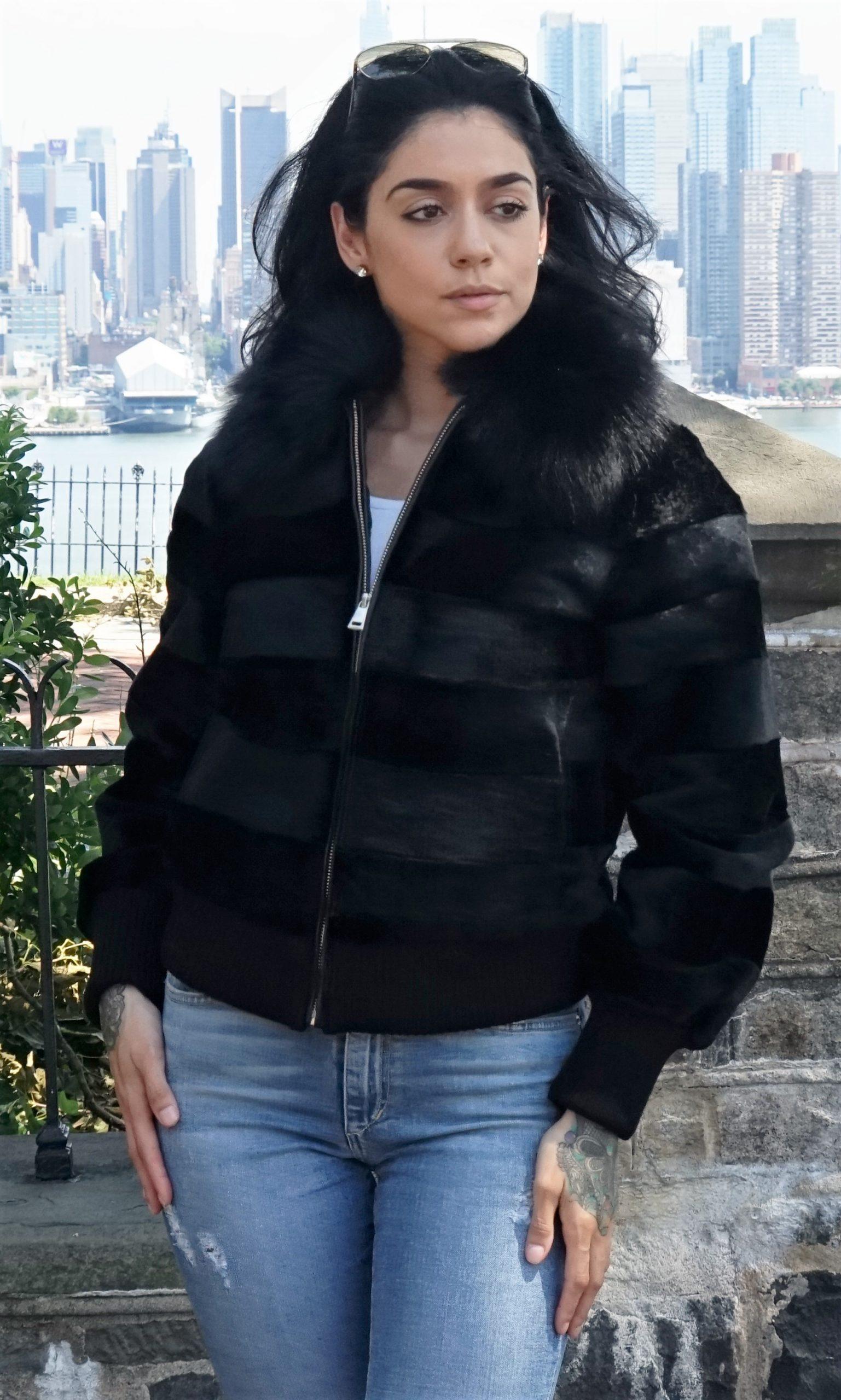 Black Sheared Rex Rabbit Jacket Black Fox Collar
