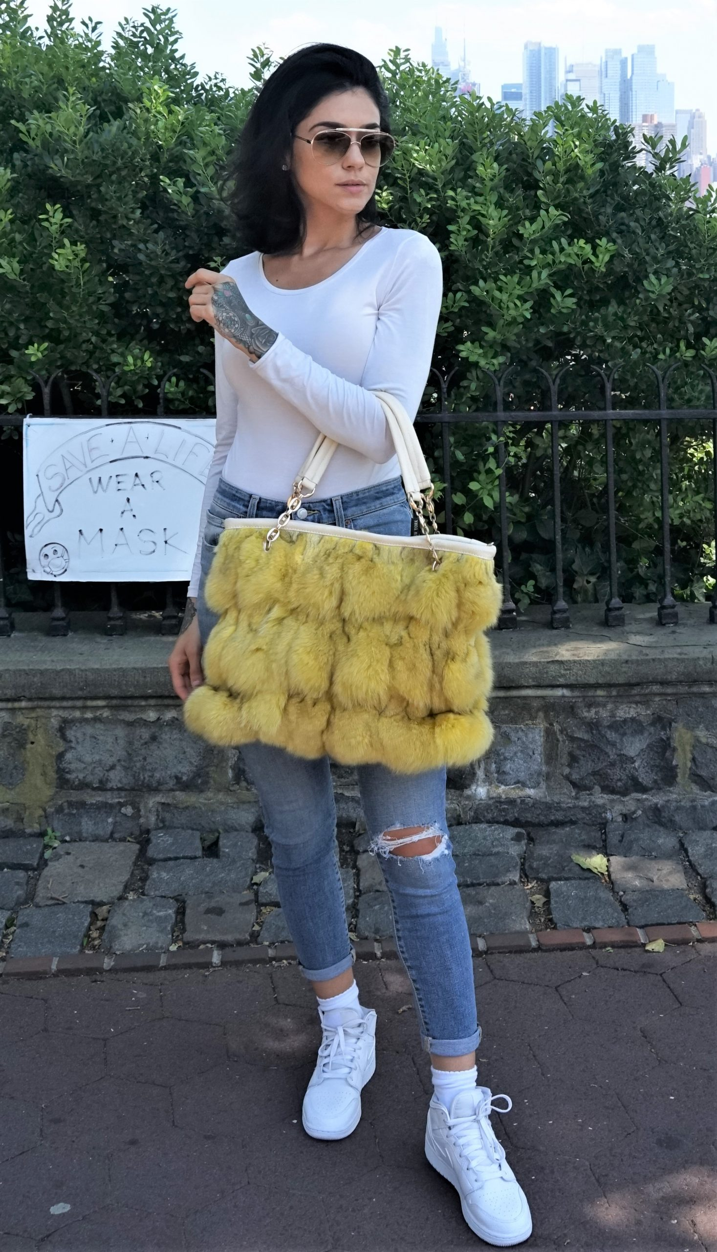Yellow Real Fox Bag
