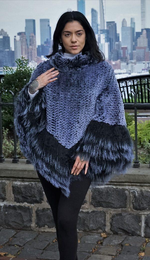 Soft Blue Knit Rex Rabbit Poncho w/ Finnish Raccoon Trim