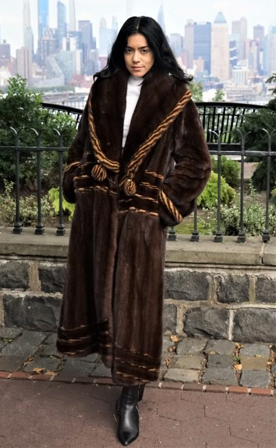 Mahogany Mink Coat Whiskey Mink Trim