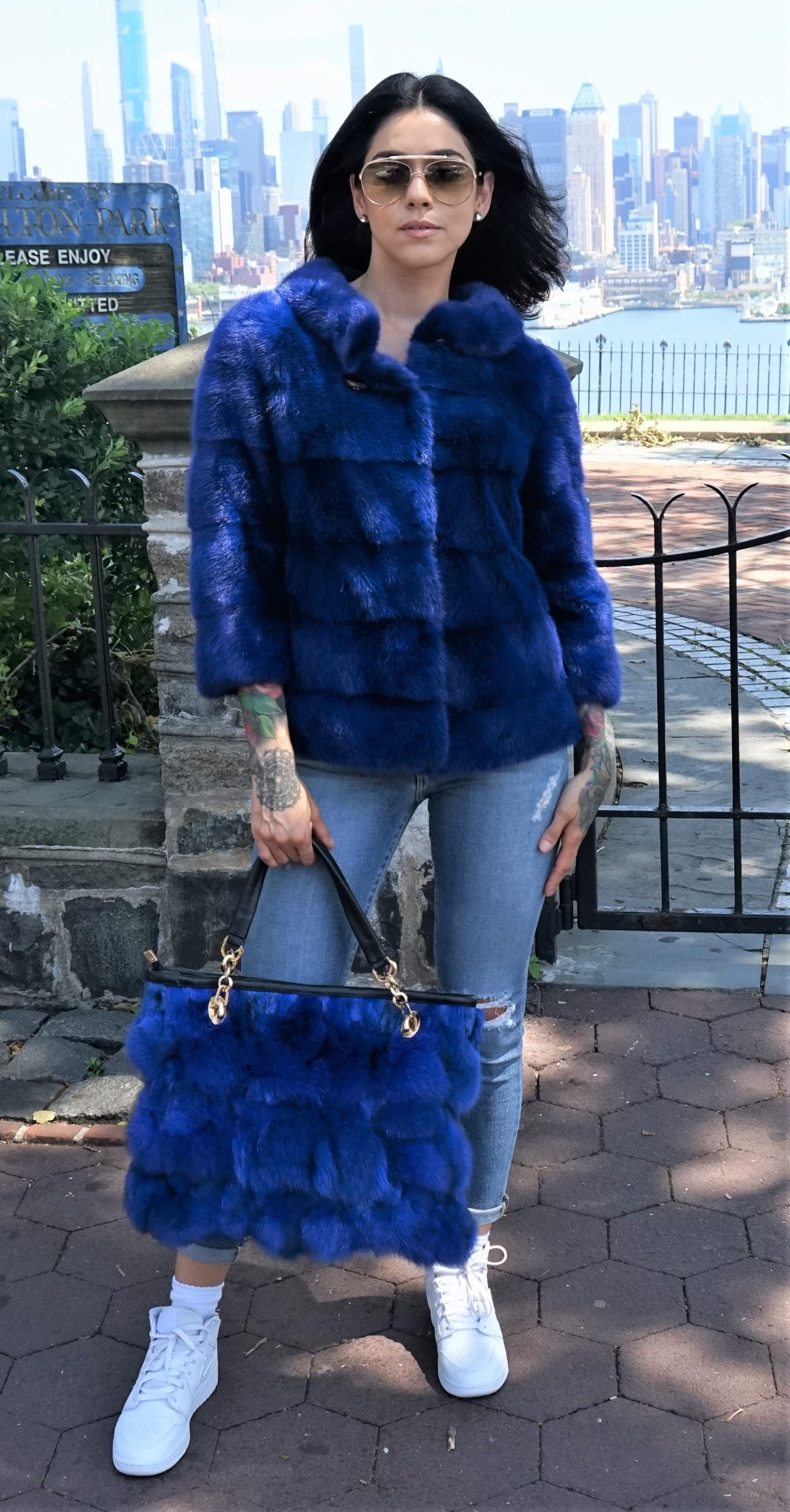 Royal Blue Fox Fur Bag