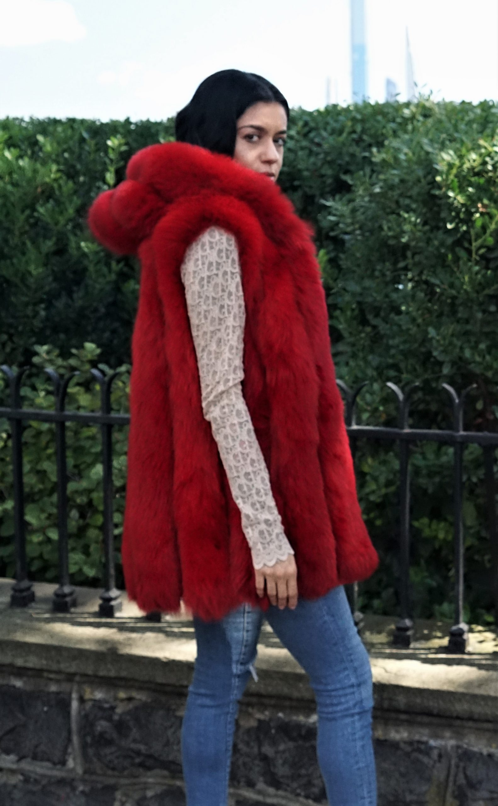 Warm Dyed Red Fox Vest