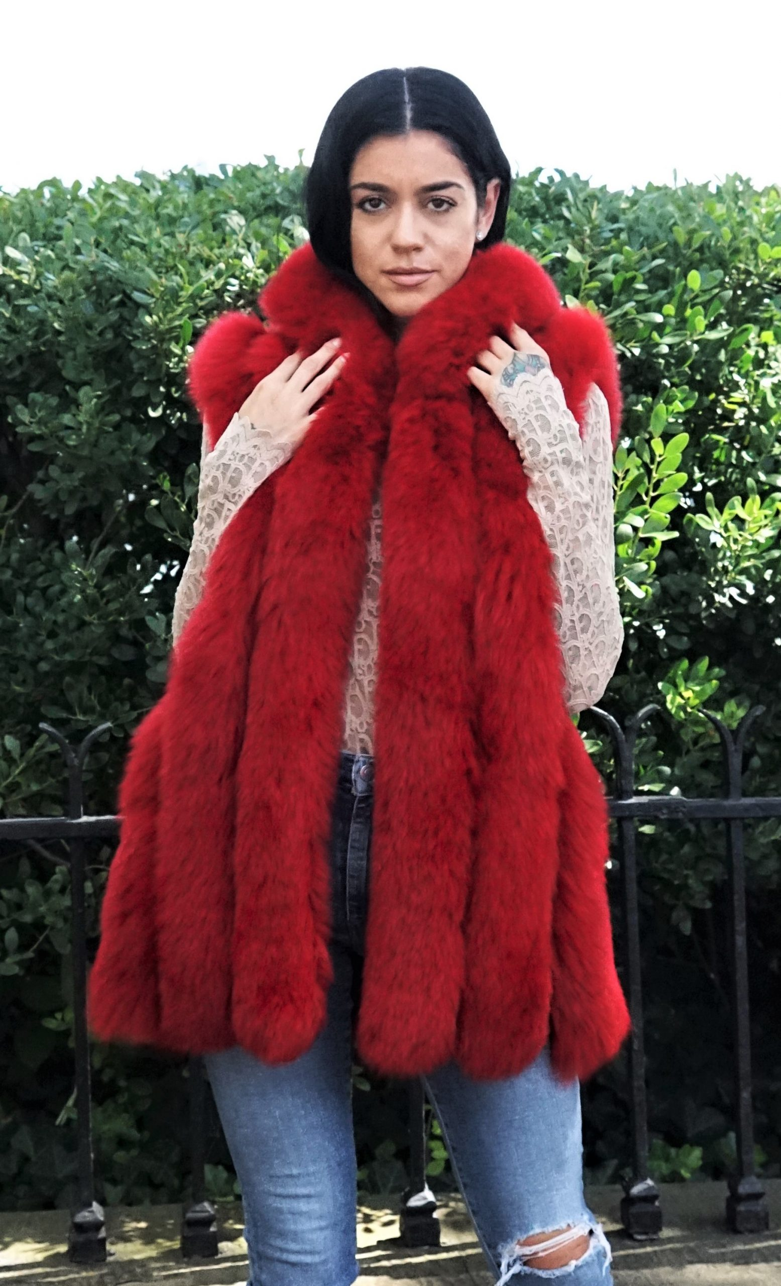 Dyed Red Fox Vest