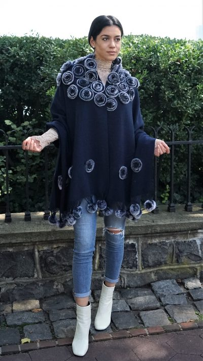Midnight Blue Cashmere Wool Cape Rex Rabbit Flowers