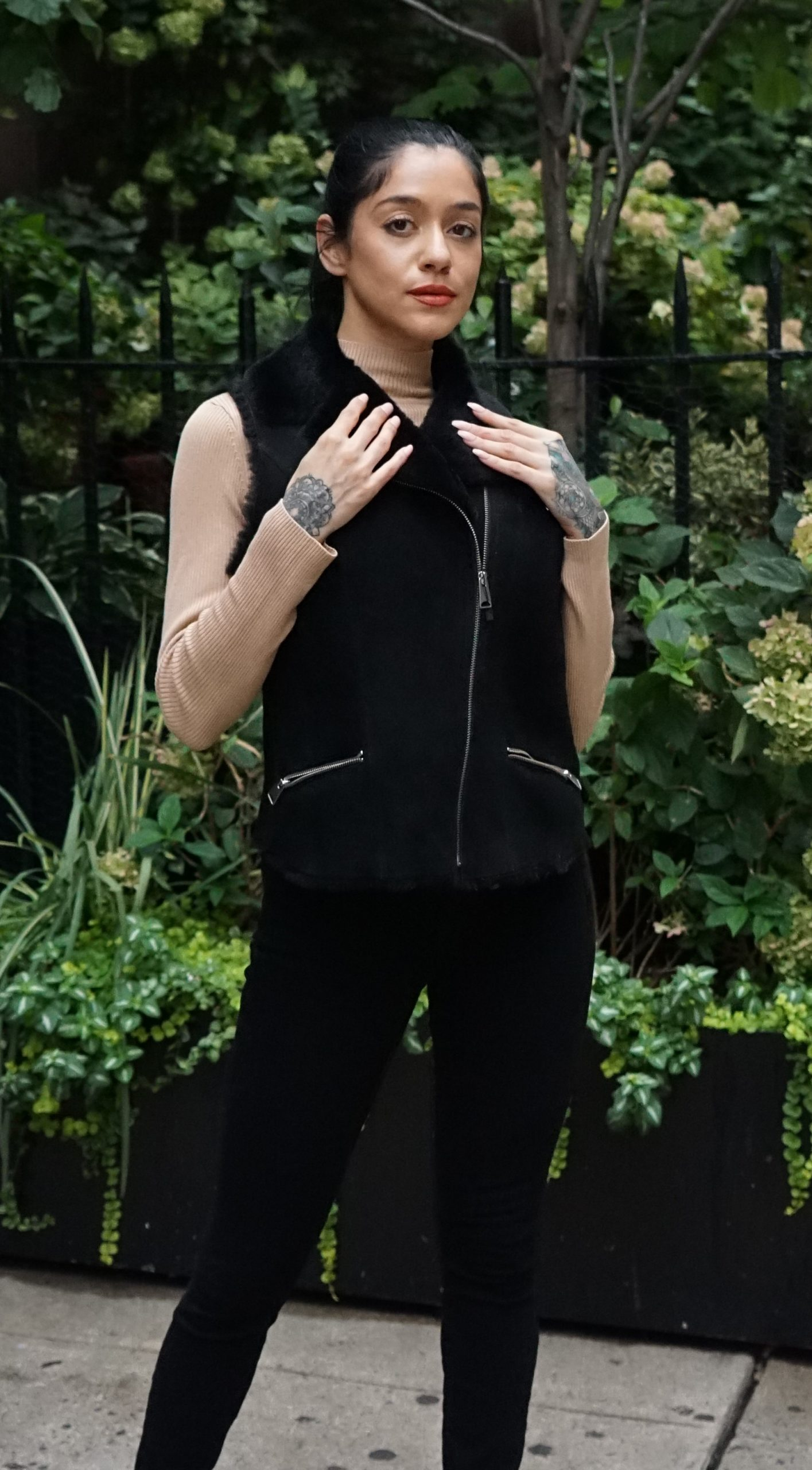 Italian designed black shearling vest