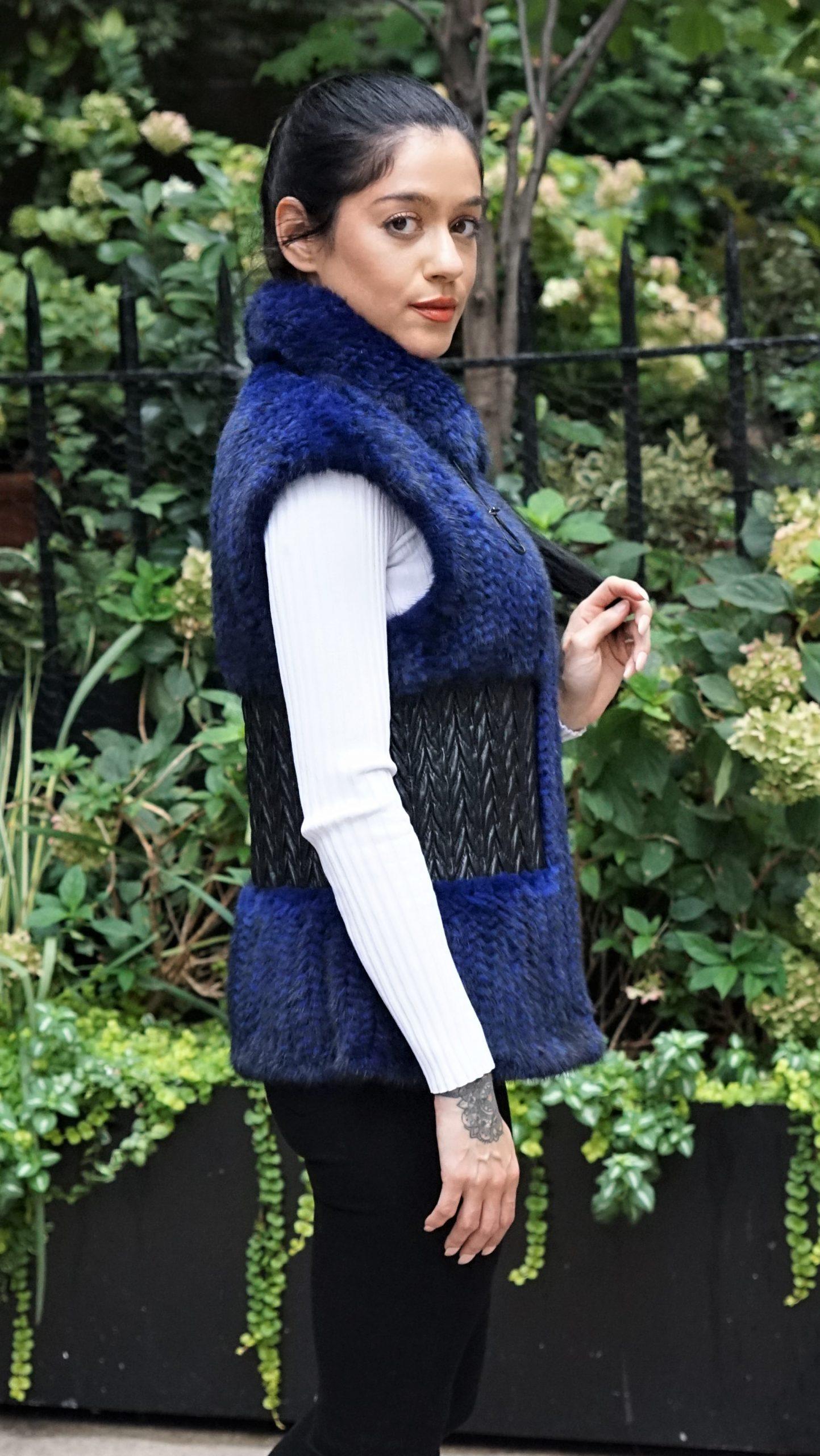 Blue Knit Mink Vest