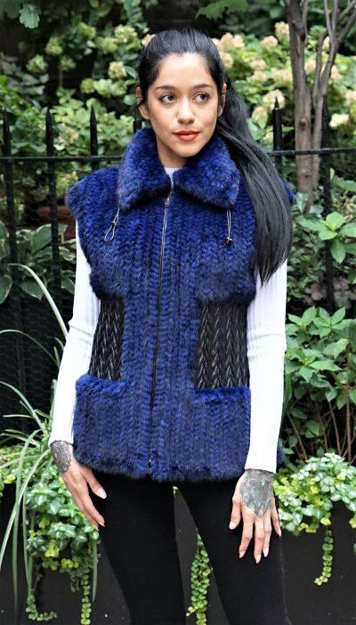 Royal Blue Knit Mink Vest