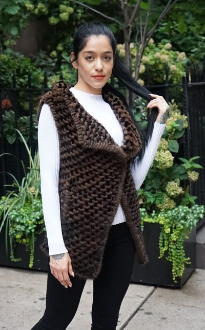 Black and Brown Woven Knit Mink Vest