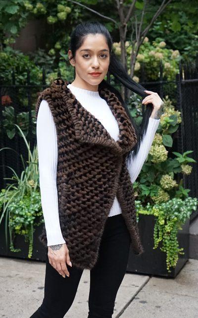 Black and Brown Woven Knit Mink Vest