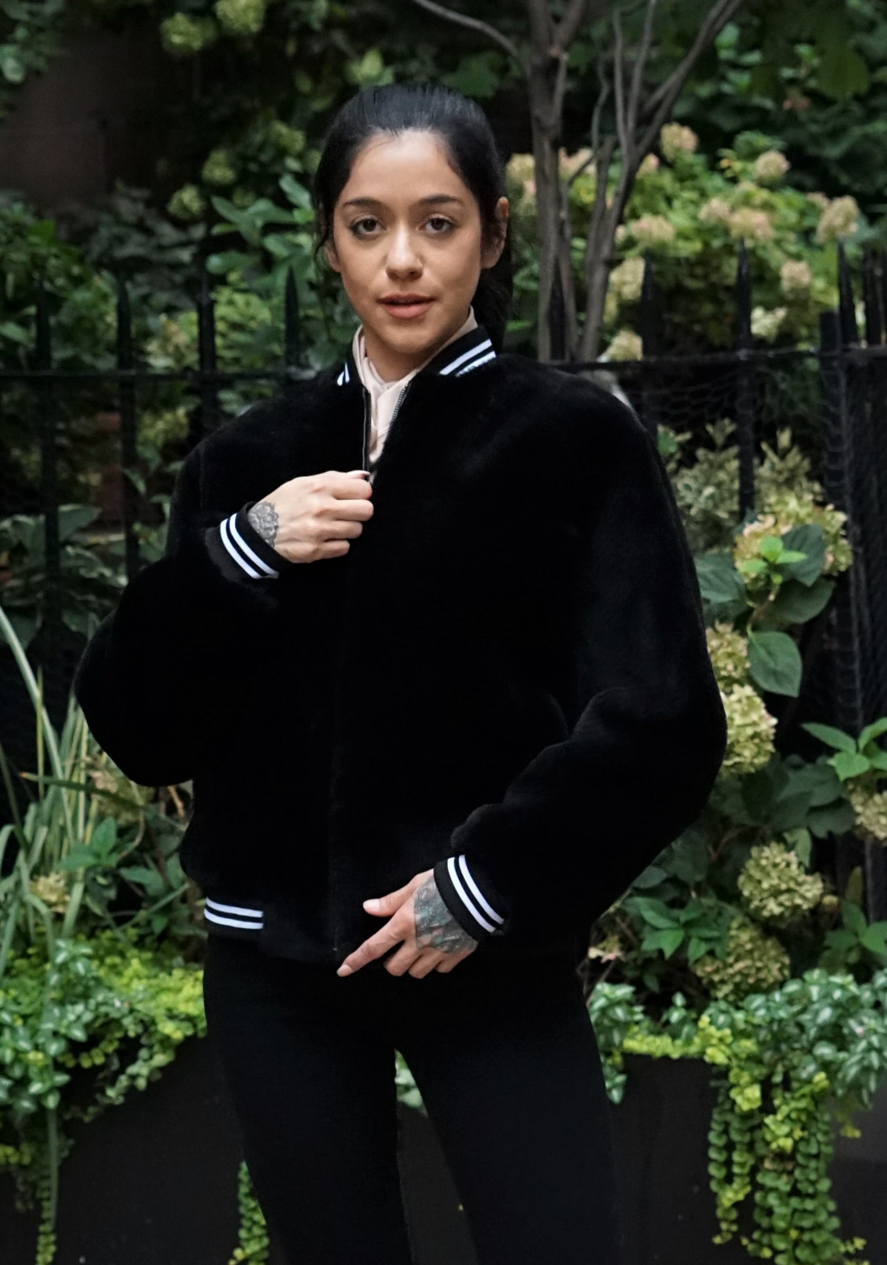 Black Shearling Varsity Jacket