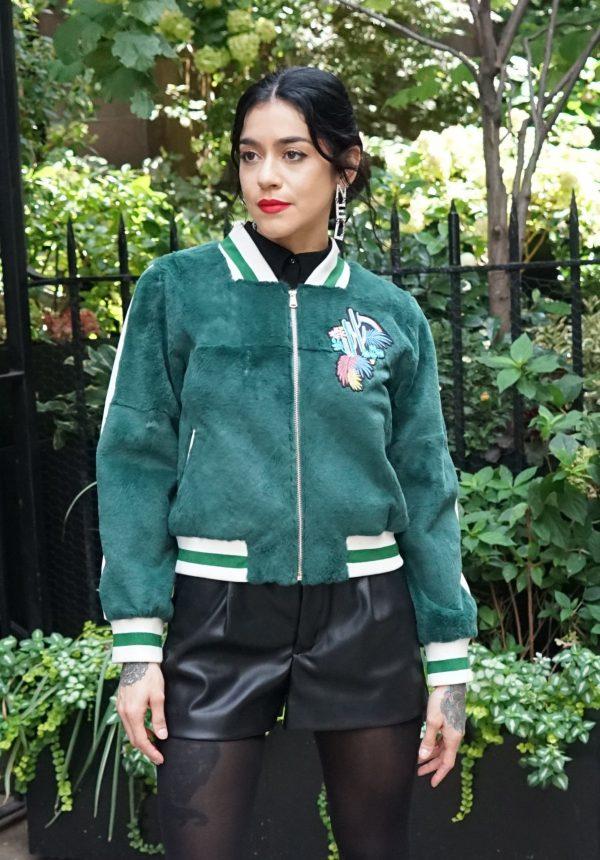 Green Sheared Rabbit Jacket Knit Trim