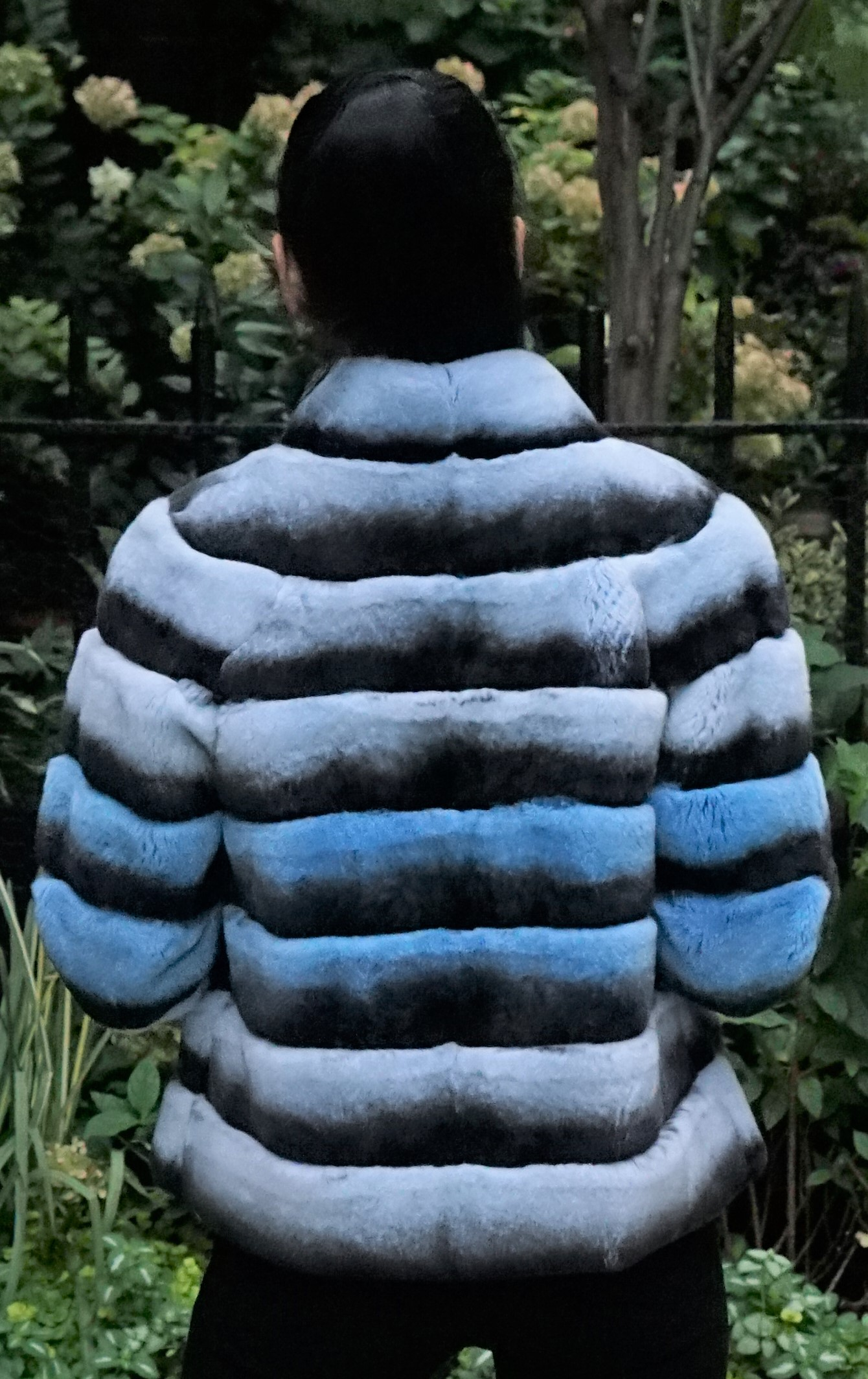 Blue Horizontal Fur Rex Chinchilla Jacket
