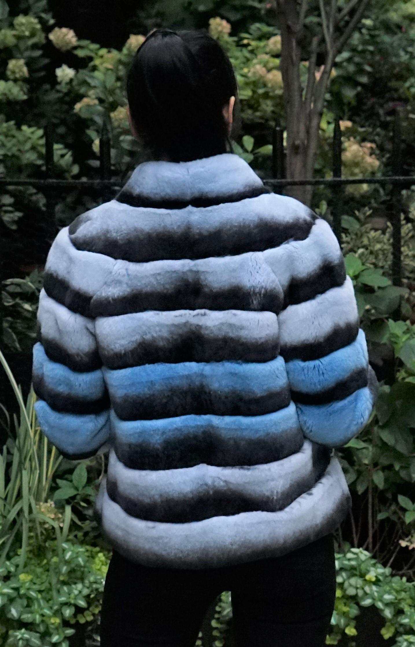 Horizontal Rex Chinchilla Jacket