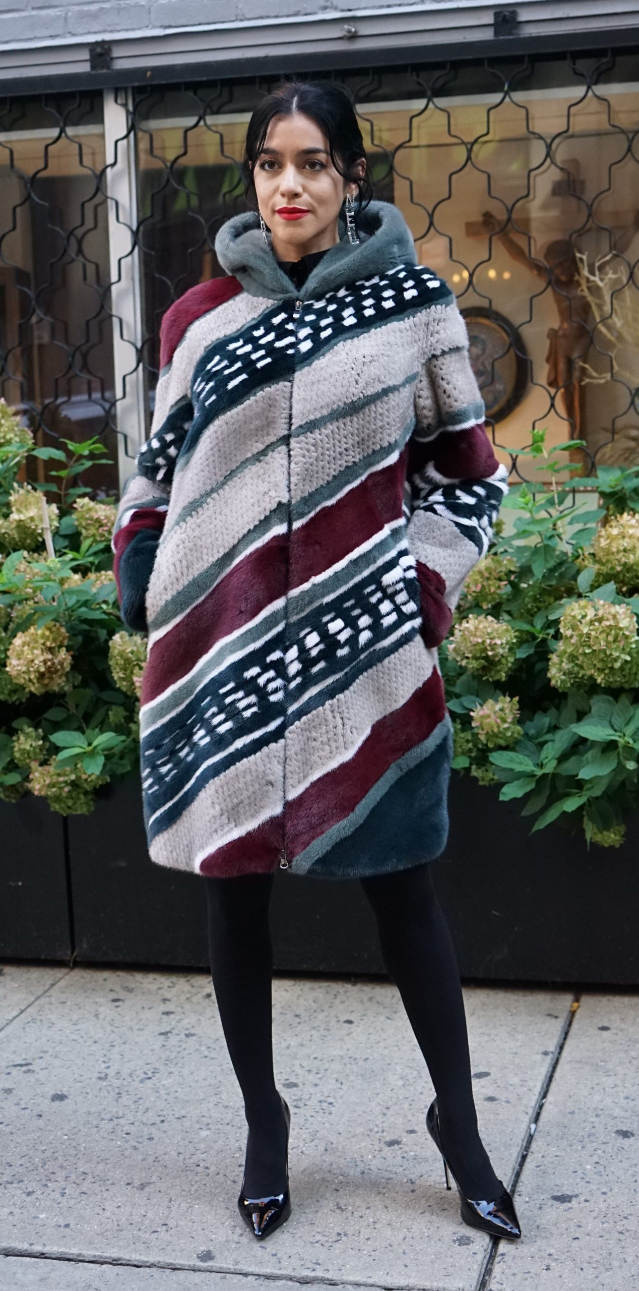 Burgundy Tan Green Mink Stroller Hood