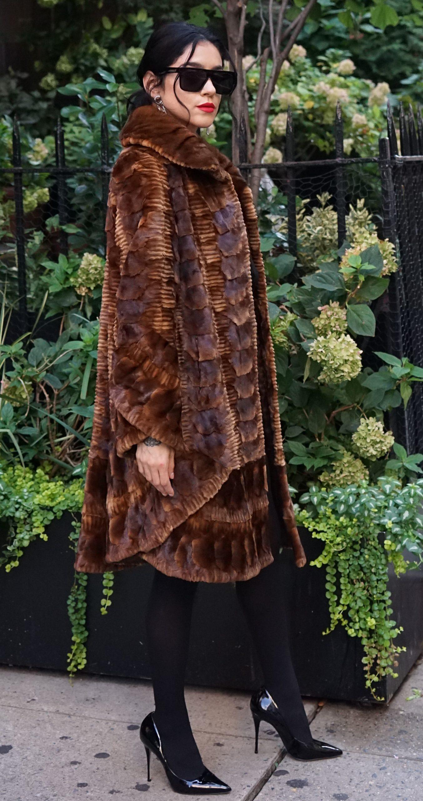Designer Cognac Mink Fur Sculptured Stroller