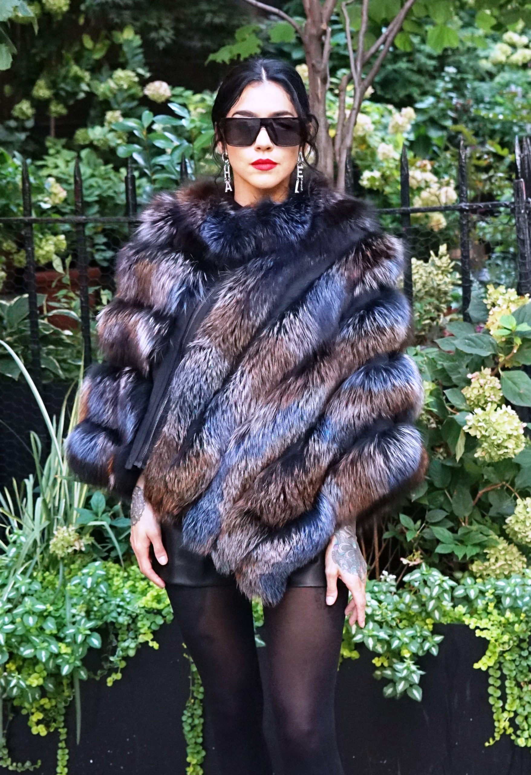 Colored fox fur poncho
