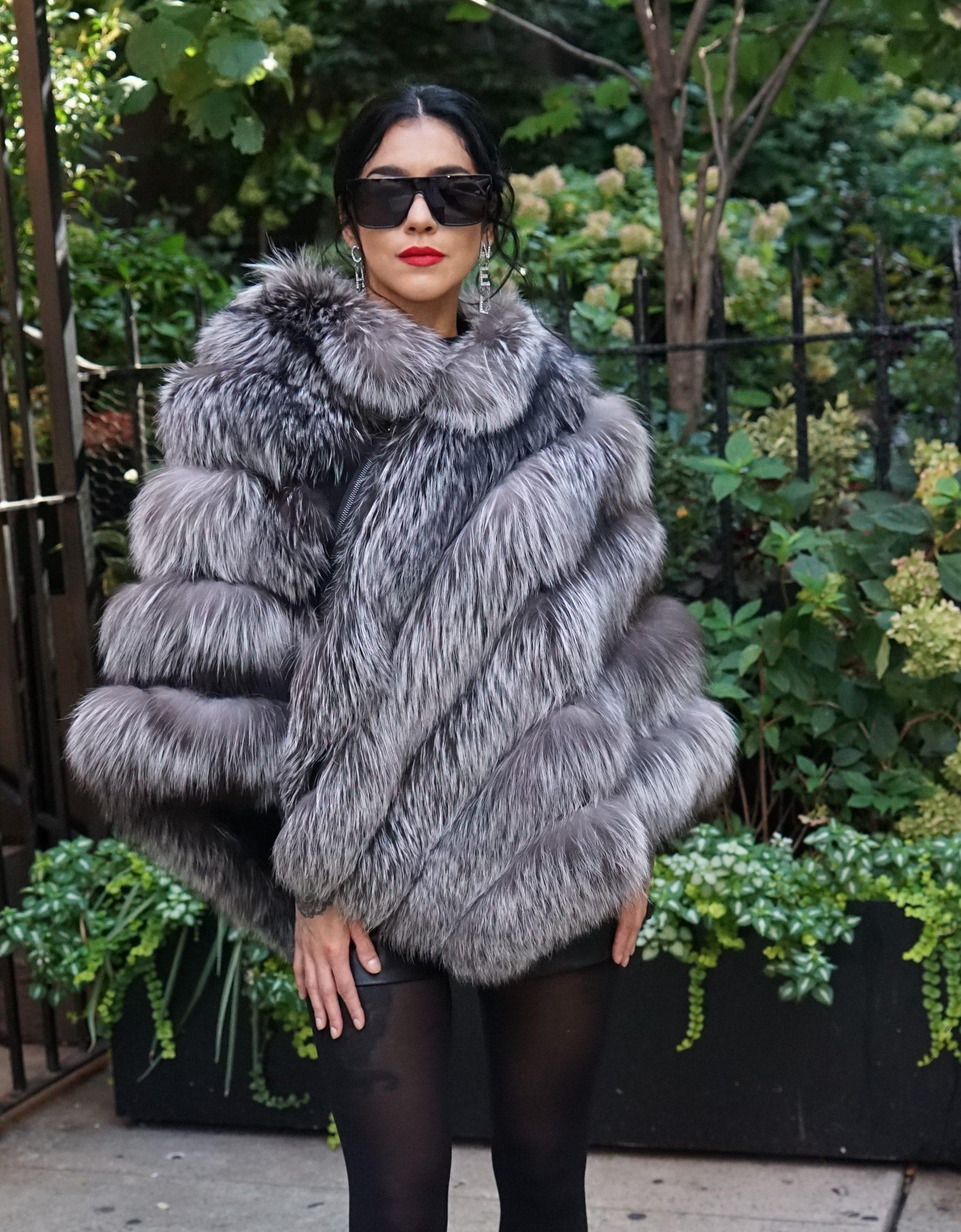 Silver Fox Fur poncho